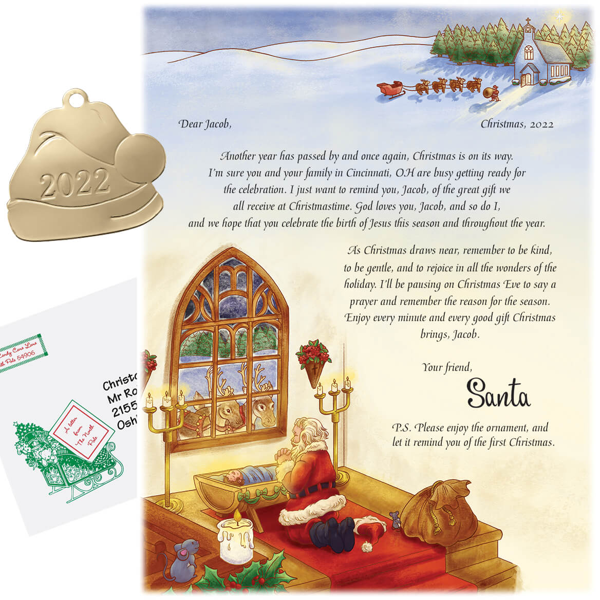 Personalized Inspirational Santa Letter w/Snowflake Ornament