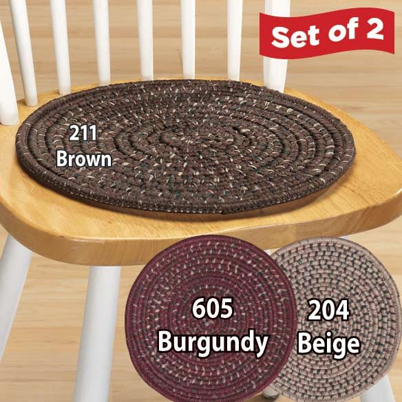 Multi-Colored Braided Chair Pads Set/2