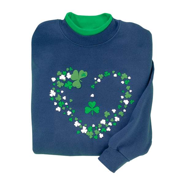 Shamrocks on Navy Sweatshirt