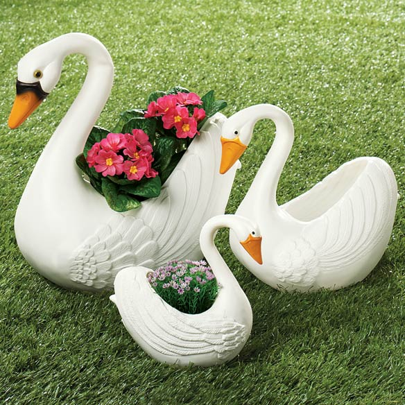 Swan Planters Plastic Swan Planters Miles Kimball