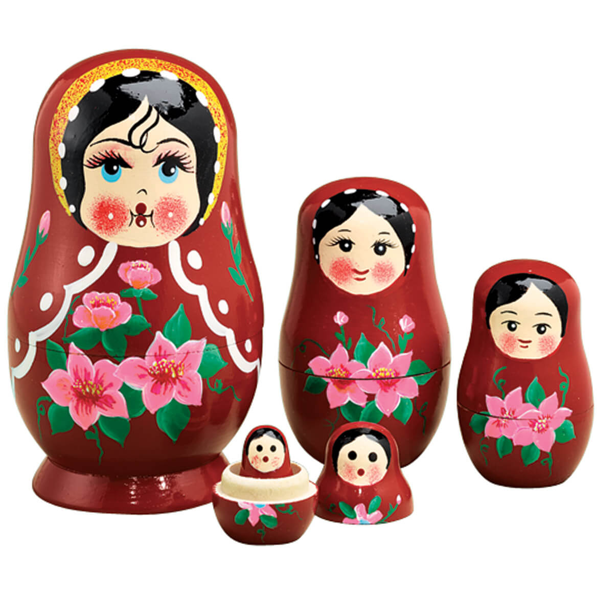 Santa Nesting Dolls Nostalgic Christmas Crafted in Solid Wood Set of 5 Holiday