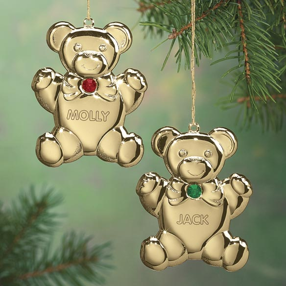 Personalized Birthstone Teddy Ornament