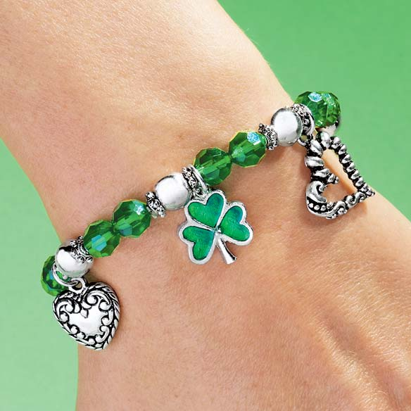 Shamrock 4 Leaf Clover Stretch Bracelet