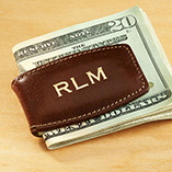 Apparel, Wallets & Jewelry - Personalized Leather Money Clip