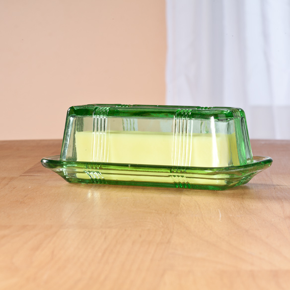 Green Depression Style Glass Butter Dish