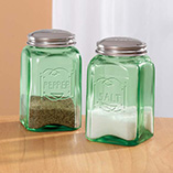 Depression Style Glassware - Green Depression Style Glass Salt & Pepper Shakers