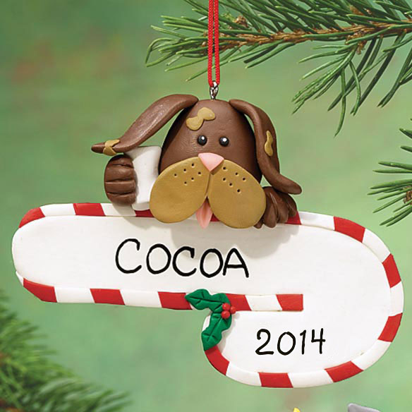 Personalized Dog and Candy Cane Ornament