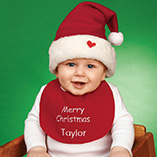 Apparel, Totes & Accessories - Personalized Baby Christmas Hat & Bib Set