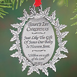 Milestones - Personalized Baby's First Christmas Pewter Ornament