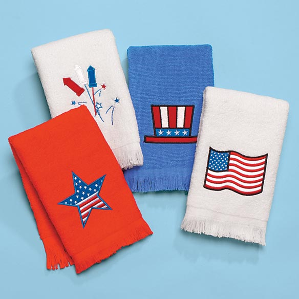 Patriotic Hand Towels Set of 4