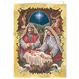 View All - Holy Family Personalized Embossed Christmas Cards - Set Of 20