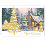 Glowing Cottage Personalized Christmas Card Set of 20