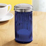 Depression Style Glassware - Blue Depression Glass Sugar Dispenser