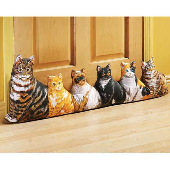 Cat draft stopper cat door draft stopper miles kimball for Door draft stopper