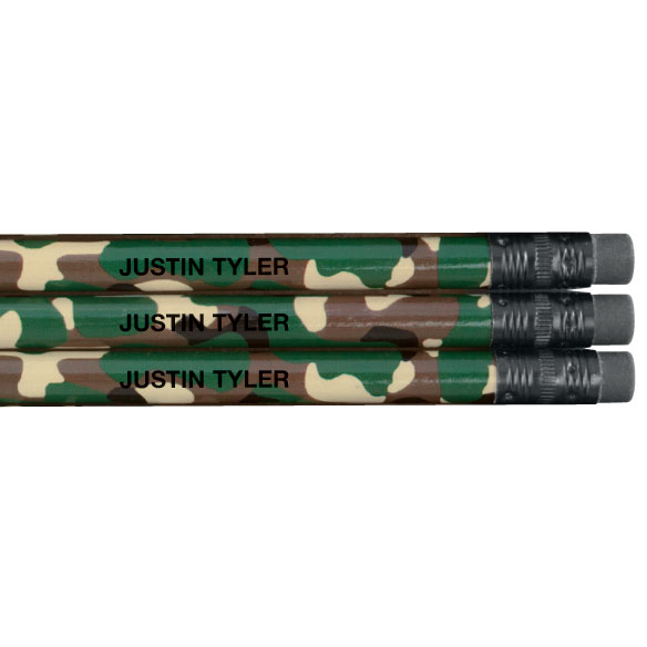 Personalized Round Camouflage Pencils - Set of 12