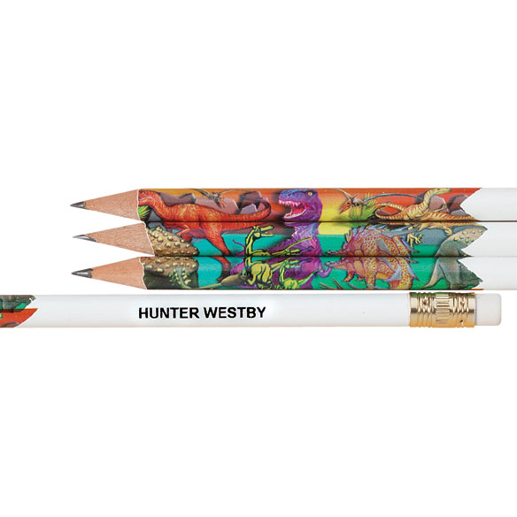 Personalized Round Dinosaur Pencils - Set of 12