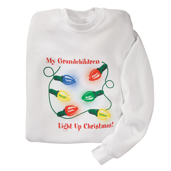 Personalized My Gradnchildren Light Up Christmas Sweatshirt