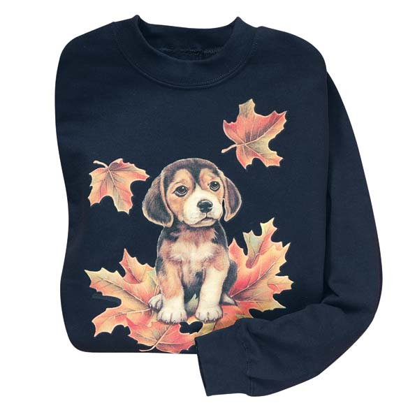 Puppy In Leaves Sweatshirt - 2XL - 3XL