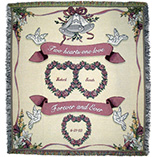 Personalized Two Hearts Wedding Afghan