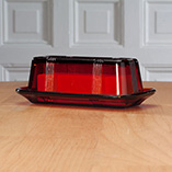 Depression Style Glassware - Red Depression Glass Butter Dish