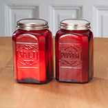 Depression Style Glassware - Red Depression Glass Salt & Pepper Shakers