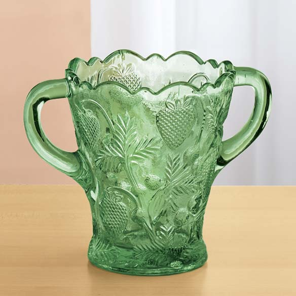 Green Glass Strawberry Design Spooner