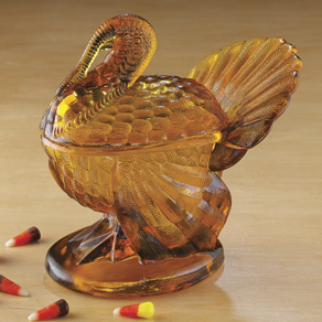 Amber Glass Turkey Candy Dish