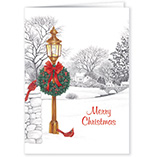 Nature Inspired - Lamppost Christmas Card Pers Set of 20