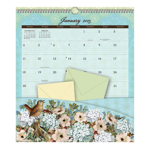 Floral 12-Pocket Wall Calendar