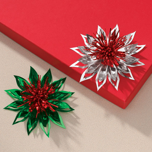 Poinsettia Christmas Gift Bows - Set Of 4