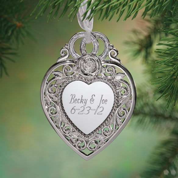 Personalized Silver Heart Wedding Ornament