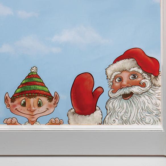 Santa and Elves Window Peeper Clings Set