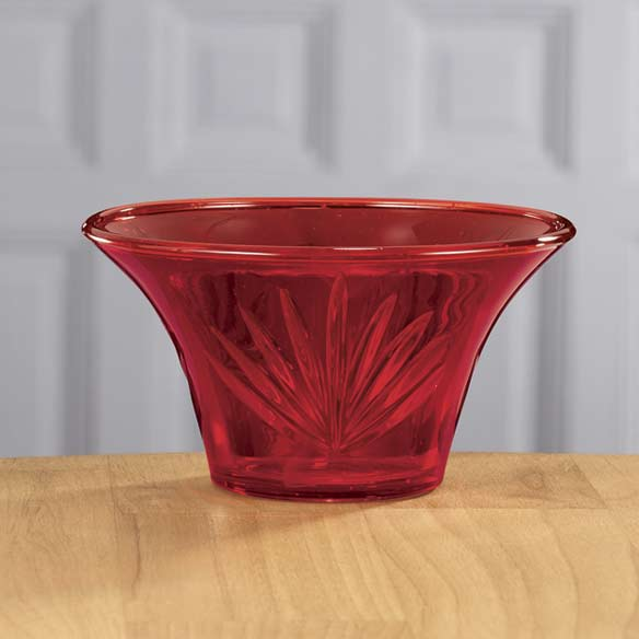 Red Glass Etched Nut Bowl