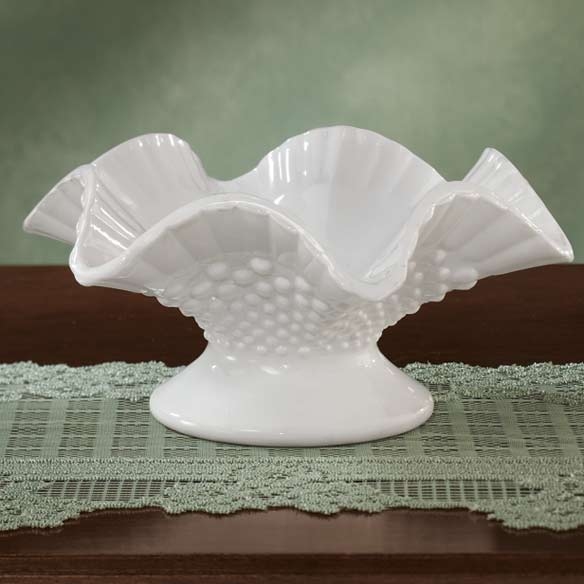 White Hobnail Depression Style Glass Fluted Bowl