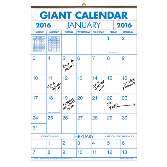 Two Year Large Calendar