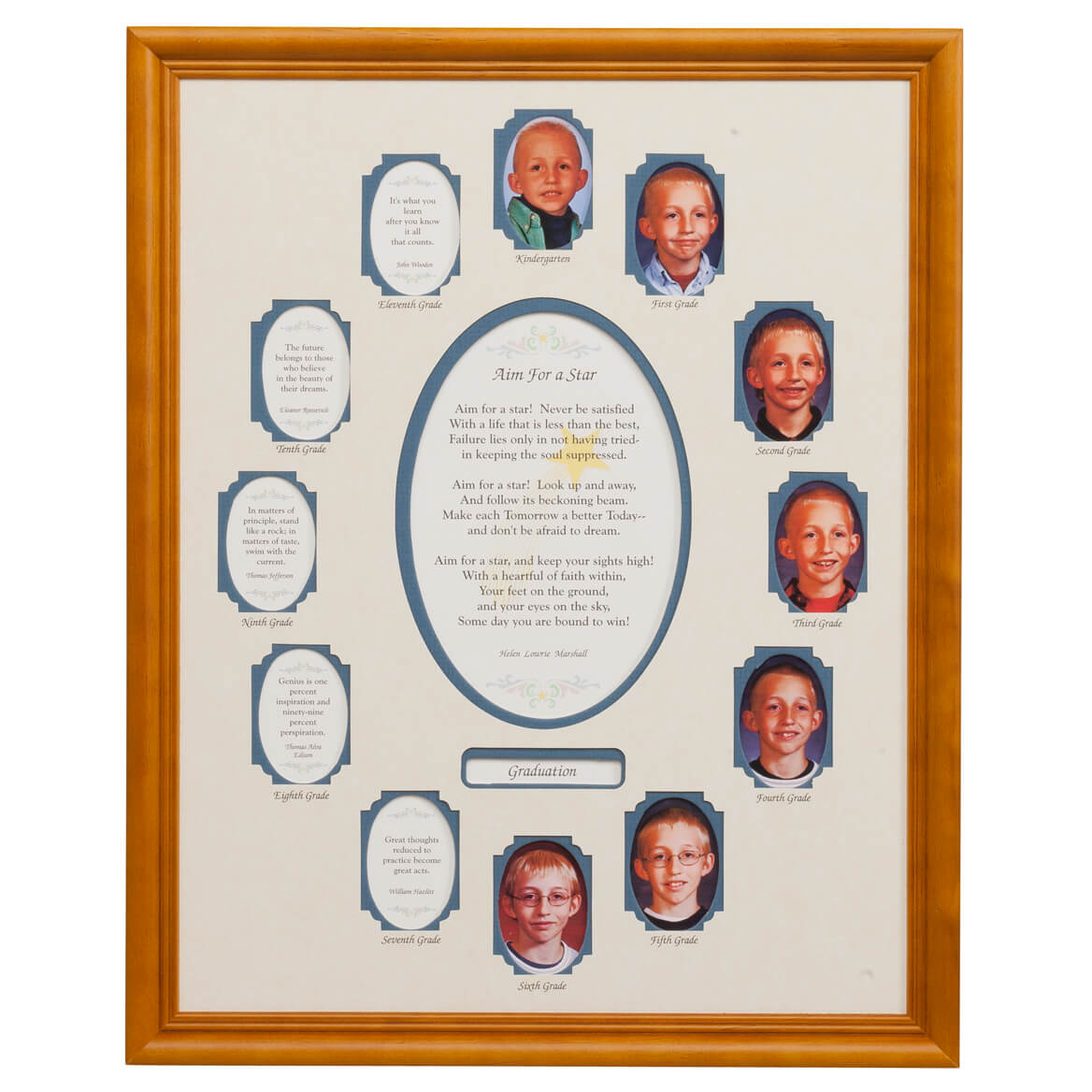 School Years Collage Vertical Blue Mat and Frame