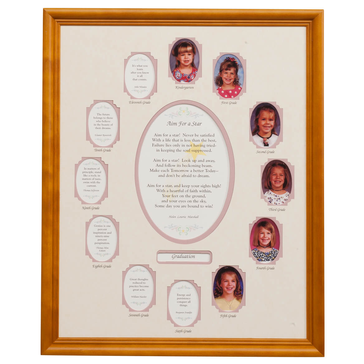 School Years Collage Vertical Pink Mat and Frame