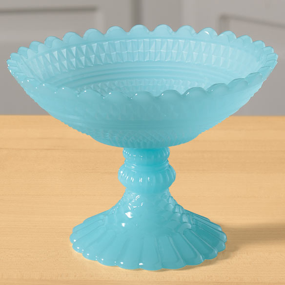 Milky Blue Glass Pedestal Candy Bowl