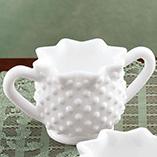 Kitchen - White Hobnail Depression Style Glass Sugar Bowl