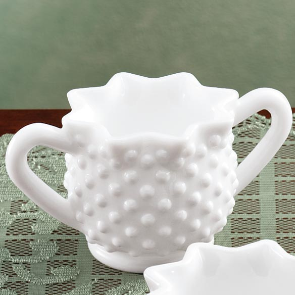 White Hobnail Depression Style Glass Sugar Bowl