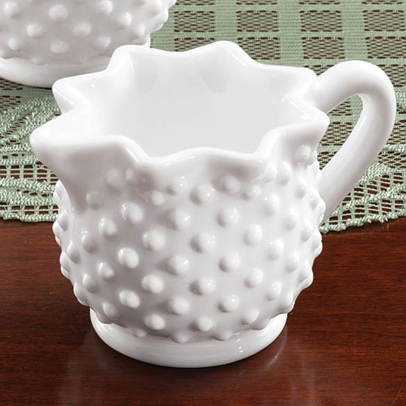 White Hobnail Depression Style Glass Creamer - View 1