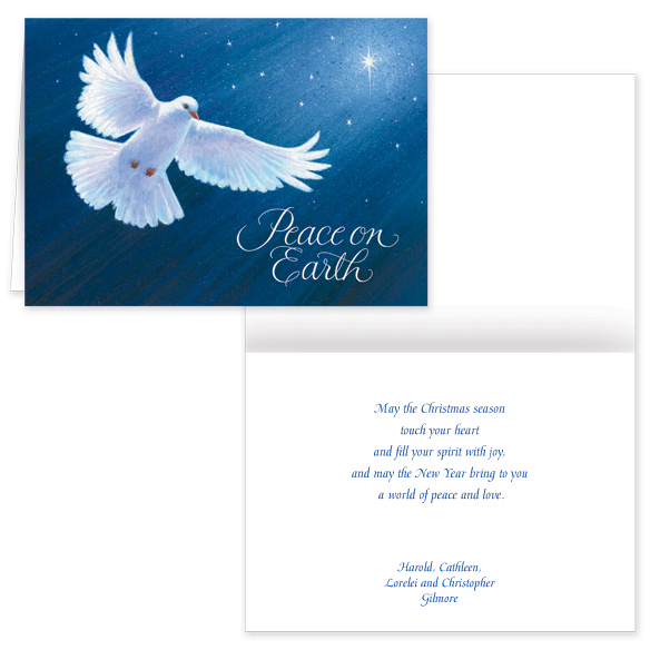 Dove of Peace Christmas Verse Christmas Card Set of 20