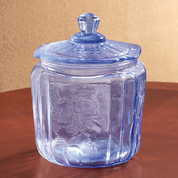 Ice Blue Glass Biscuit Jar