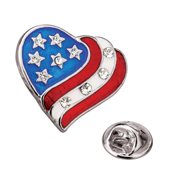 Patriotic Heart Tac Pin