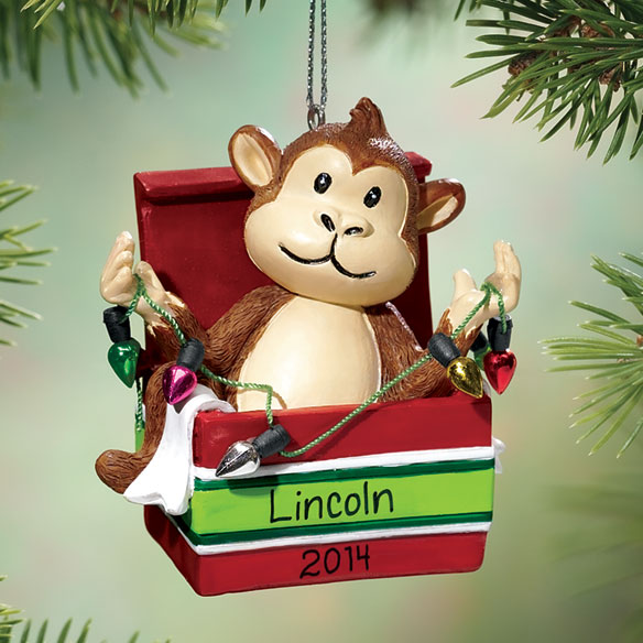 Personalized Monkey Christmas Ornament