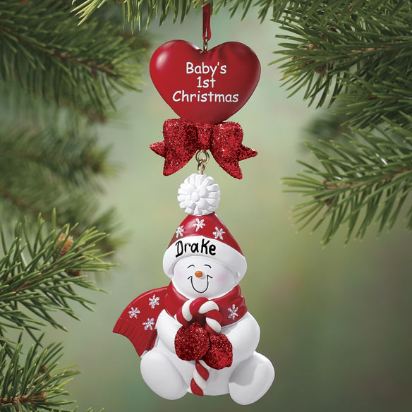 Personalized Baby's First Christmas Snowman Ornament