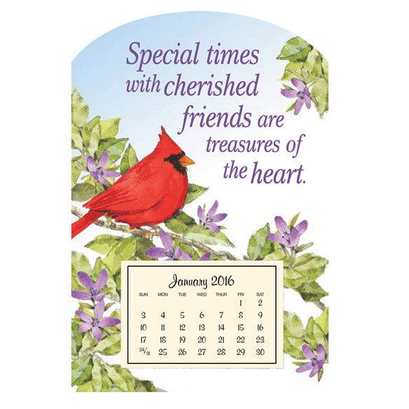 Mini Magnet Calendar With Cardinal