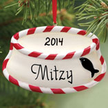 Personalized Cat Bowl Ornament