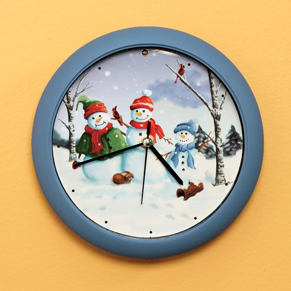 Snow Family Christmas Carol Clock