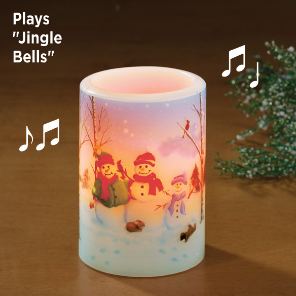 Snow Family Flameless Candle